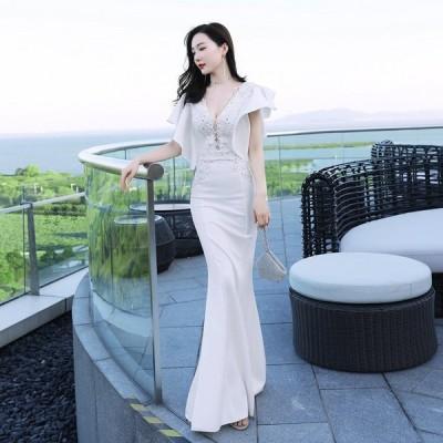 パーティードレスイブニングドレス可愛い安いスパンコールロングナイトクラブキャバフリル袖
