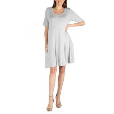 24セブンコンフォート レディース ワンピース トップス Soft Flare T-Shirt Dress with Pocket Detail