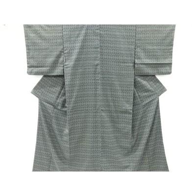 宗sou 幾何学模様織り出し本塩沢着物【リサイクル】【着】