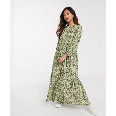エイソス ASOS DESIGN レディース ワンピース ティアードドレス ワンピース・ドレス tiered maxi dress in khaki leopard print