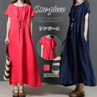 2019大人気の韓国ファッション綿と麻の半袖のワンピース長い純色のワンピース