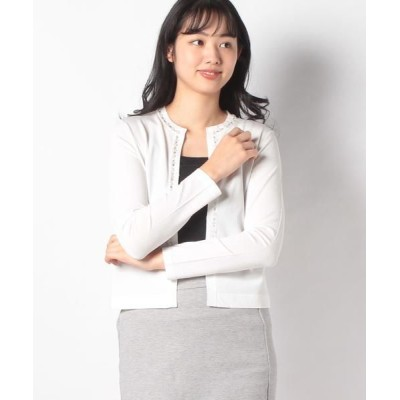 JOCONDE ROYAL/ジョコンダロイヤル ビーズ刺繍ニットカーディガン ホワイト 40