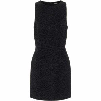 バルマン Balmain レディース パーティードレス ワンピース・ドレス Leopard Velvet Jacquard Minidress Noir