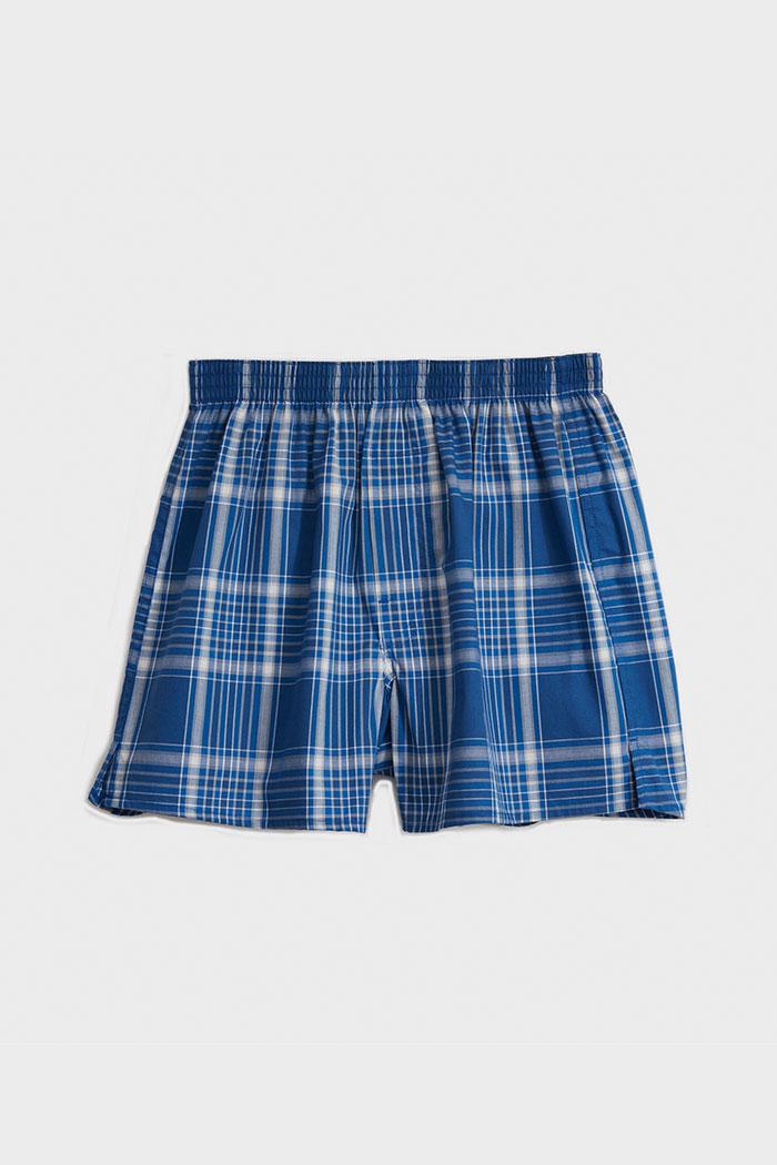 (男款)專職格紋.平織純棉四角內褲(白/灰藍/藍/淺灰格)