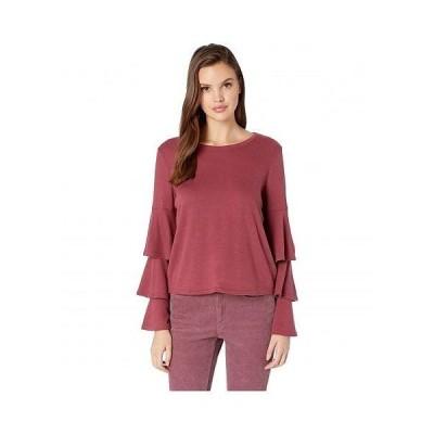 BB Dakota ビービーダコタ レディース 女性用 ファッション Tシャツ Wax Poetic Brushed Knit Tiered Sleeve Top - Burgundy