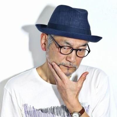 REGALIS 中折れ帽 リネン LEOMASTER メンズ 中折れハット BL型 帽子 レガリス イタリア製生地 レオマ