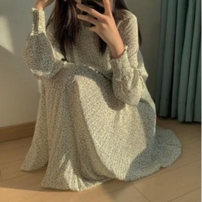 韓国 ファッション レディース ワンピース ロング 長袖 花柄 シフォン プリーツ フレア ゆったり 上品 レトロ 大人可愛い カジュアル 春