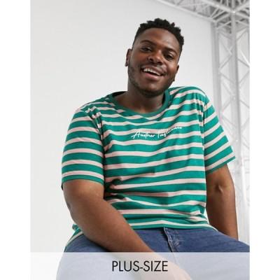 アナザーインフルエンス メンズ シャツ トップス Another Influence Plus signature t-shirt in blue stripe