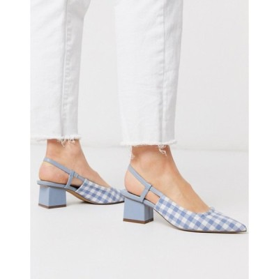 エイソス レディース ヒール シューズ ASOS DESIGN Steele slingback block heels in blue gingham