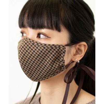 【日本製】洗って繰り返し使える椿オイル配合立体型チェック柄リボンマスク 保湿ウォッシャブルマスク