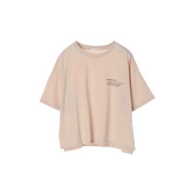 (koe/コエ)ショート丈ワンポイントプリントTシャツ/レディース ライトベージュ