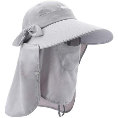 ガーデニング 帽子 撥水加工 4WAY使い方 UVカット つば広 ハット 農作業 紫外線対策 ひよけ おしゃれ帽子 フェイスカバー サンバイザー グレ