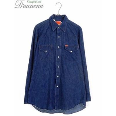 古着 シャツ 80s ELY 100% コットン オールド インディゴ デニム ウエスタン シャツ 15 1/2 古着