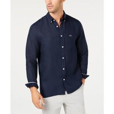 ラコステ シャツ トップス メンズ Men's Regular Fit Long Sleeve Linen Pocket Shirt Navy
