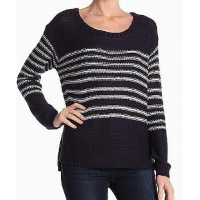 ファッション トップス RDI Womens Sweater Blue Size Large L Striped Pullover Scoop Neck