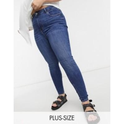 リバーアイランド レディース デニムパンツ ボトムス River Island Plus high rise skinny jeans in dark wash blue Dark wash