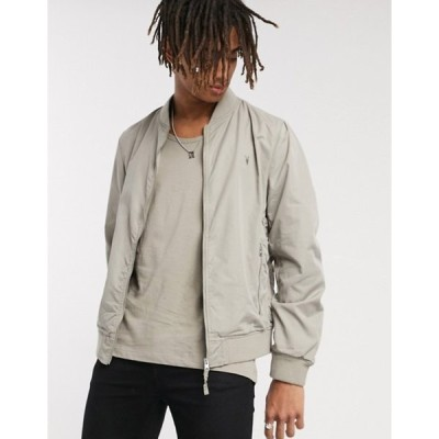 オールセインツ メンズ ジャケット・ブルゾン アウター AllSaints Bassett ramskull logo bomber jacket in sutro gray