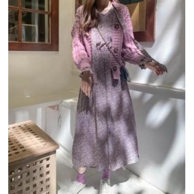 韓国 ファッション レディース ワンピース 花柄 ロング Vネック フレア ハイウエスト 長袖 ゆったり レトロ 大人可愛い フェミニン