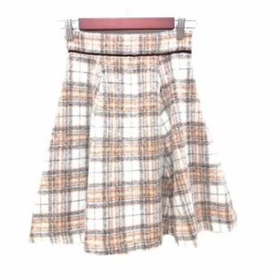 【中古】リランドチュール Rirandture フレアスカート ひざ丈 ツイード グレンチェック ウール 0 ベージュ 白