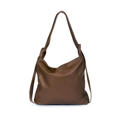 LIATALIA Womens Shoulder Backpack Bag - Mutiple Use Dual Style Soft Italian Leather Handbag - Unique Plain yet Trendy Rucksack Bag - Nicole (Dark Tan)