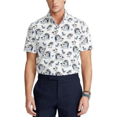 ラルフローレン メンズ シャツ トップス Coconut Flamingo Print Short-Sleeve Woven Shirt White