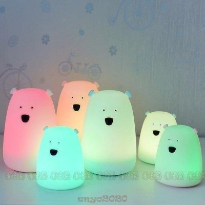 シロクマ ライト LED USB 充電式 ナイトライト ベッドサイド 可愛い シリコン 卓上 間接 照明 LED ライト 子供 調色 授乳 子供部屋 夜間 カワイイ 調光 テーブル