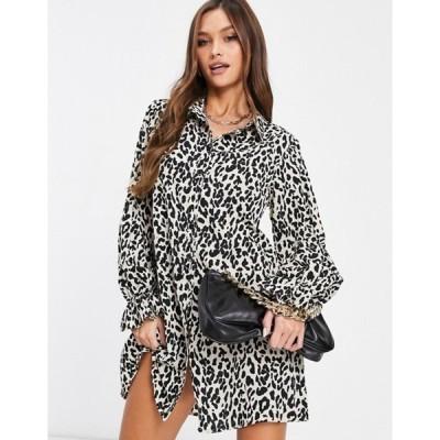 ミスガイデッド レディース ワンピース トップス Missguided shirt dress with frill cuff detail in leopard print