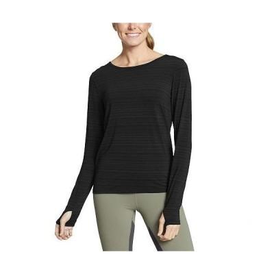 Eddie Bauer エディーバウアー レディース 女性用 ファッション アクティブシャツ Trail Light Long Sleeve Tie Back Crew - Black