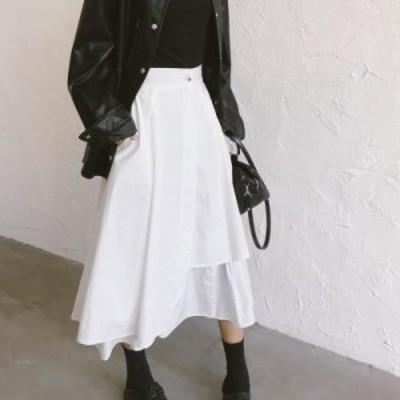 白スカート レディース ロングスカート フレアスカート ロング マキシスカート アシメ アシンメトリースカート 韓国 ファッション 春服