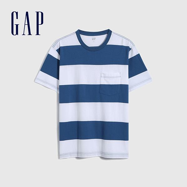 Gap男女同款 厚磅密織系列 純棉條紋圓領短袖T恤 683961-藍色條紋