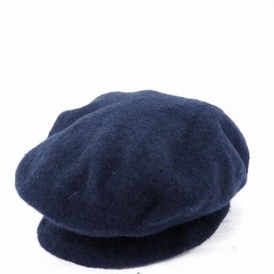 【中古】ザラ ZARA 帽子 キャップ ベレー帽  ニット 無地 ウール 毛 M ネイビー 紺 /MT1 メンズ レディース 【ベクトル 古着】