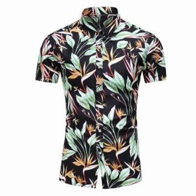 ハワイ男性のシャツカジュアルプリント半袖シャツブラウストップターンダウン襟ボタンシャツの男性カミーサ