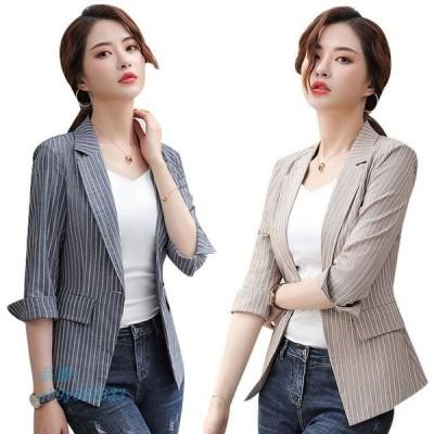 テーラードジャケット レディース サマージャケット オフィス 夏 通勤OL おしゃれ 大きいサイズ ストライプ 韓国風 薄手 七分袖