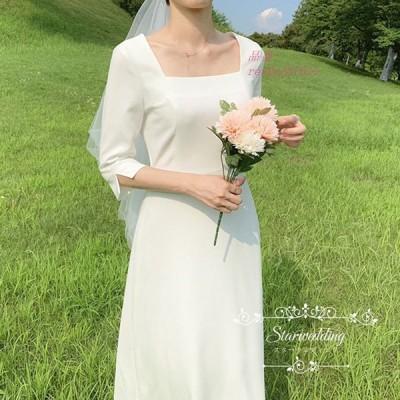 ウエディングドレス カジュアル ナチュラル 安い 花嫁 ドレス ワンピース 二次会 ビーチフォト後撮り ブライダル ウェディングドレス Aライン 袖あり