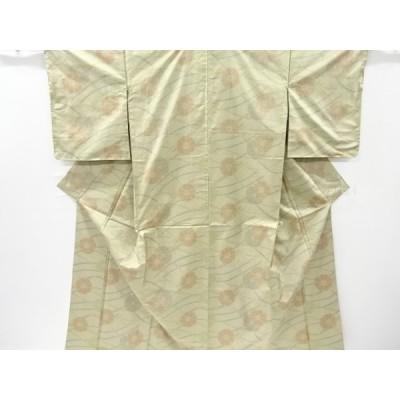 宗sou 未使用品 芝草に花模様織り出し本場大島紬着物【リサイクル】【着】