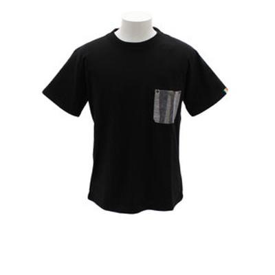 パッチワークポケTシャツ 1857206-3-BLK
