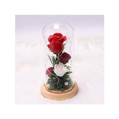 女性用 銀河 造花 ローズギフト ガラスドームに入ったバラ LEDライトストリング付き カラフルなバラの花 誕生日ギフト 女性 クリスマス バレンタイ 並行輸入品