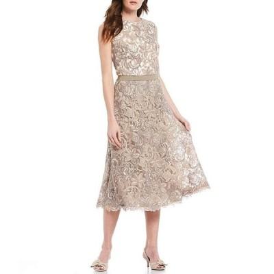 タダシショージ レディース ワンピース トップス Allover Lace Sleeveless A-Line Dress