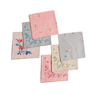 6 Pack Handkerchief Embroidery DIY with Patterns Full Set of Hand-Made Stam