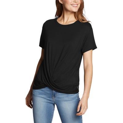 ウィメンズ 半袖エコソフトツイストフロントソリッドクルーTシャツ