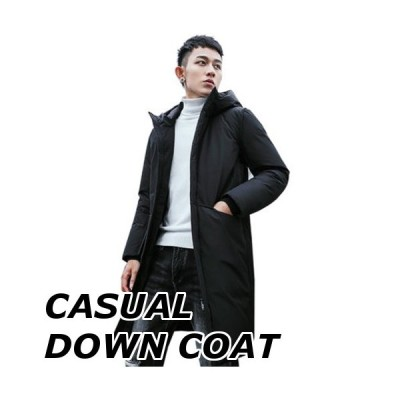 ダウンコート メンズ コート おしゃれ 無地 柄 黒 フード ロング カジュアル 中綿ジャケット アウター 大きいサイズ 防寒 防風 暖かい