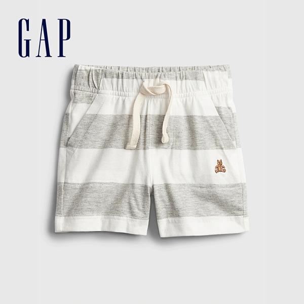 Gap嬰兒 布萊納系列 清爽條紋透氣短褲 939854-灰色條紋