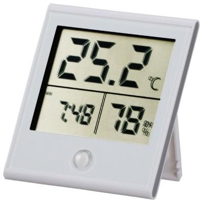 オーム電機 時計付き デジタル温湿度計 白 TEM-210-W 08-0091