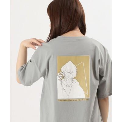 tシャツ Tシャツ ビッグシルエット ガールイラスト バックプリントTシャツ/ラウンドシルエット/半袖Tシャツ