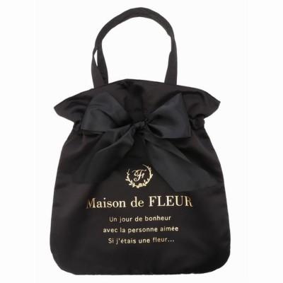 メゾンドフルール Maison de FLEUR リボントートバッグ (ブラック)