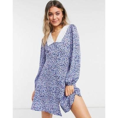 ニュールック ミニドレス レディース New Look embroidered collar mini dress in blue ditsy floral エイソス ASOS ブルー 青