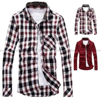 メンズ 人気 春新作 メンズシャツ 長袖シャツ チェック柄 スリム 細身 通勤 ビジネス 大きいサイズ