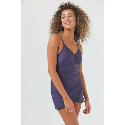 アーバンアウトフィッターズ Urban Outfitters レディース ワンピース スリップドレス ラップドレス UO Margaux Satin Wrap Slip Dress Navy