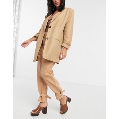リバーアイランド レディース カジュアルパンツ ボトムス River Island cinch cuff high waisted faux leather pant in beige