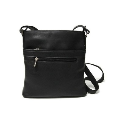 ルイスレザー Royce Leather レディース ショルダーバッグ バッグ Royce Triple Zip Crossbody Bag in Colombian Genuine Leather Black